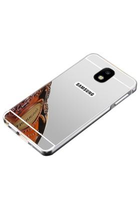 Teleplus Samsung Galaxy J7 2017 Aynalı Metal Kapak Kılıf + Tam Kapatan Cam Ekran Koruyucu
