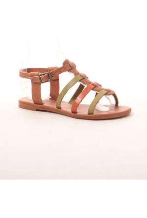Gio&Mi Hs-28 Taba Turuncu Yeşil Sandalet