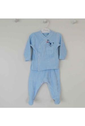 Premom 1047 Fularlı Kpekcik Kadife Bebek Takımı
