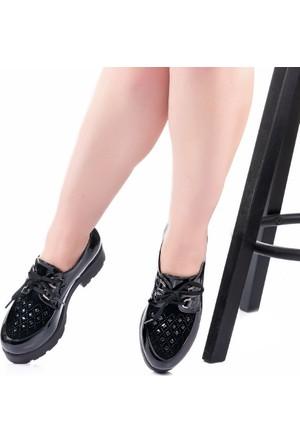 Modabuymus Bovika Siyah Rugan Taşlı Kadın Ayakkabı