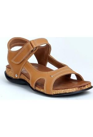 Markazen Ortopedik Deri Sandalet Ayakkabı - Taba