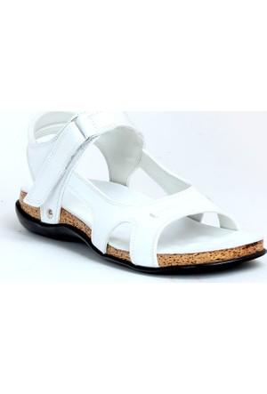 Markazen Ortopedik Deri Sandalet Ayakkabı - Beyaz