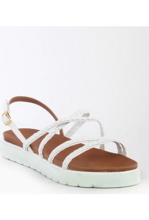 Markazen Hasır Desenli Sandalet - Beyaz