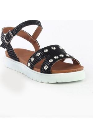 Markazen Küp Desenli Taşlı Sandalet - Siyah
