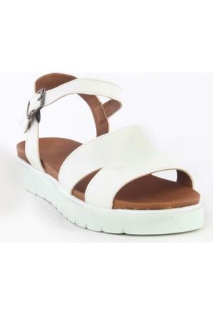 Markazen Çift Kemerli Sandalet - Beyaz