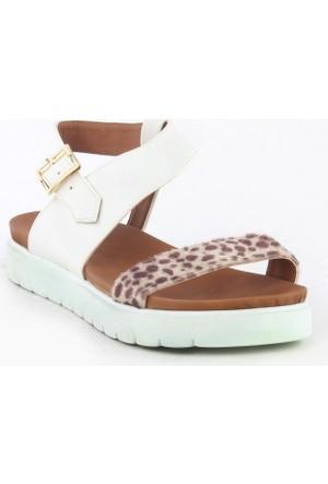 Markazen Leopar Desenli Sandalet - Beyaz