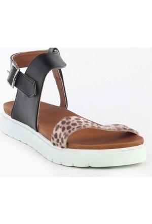 Markazen Leopar Desenli Sandalet - Siyah