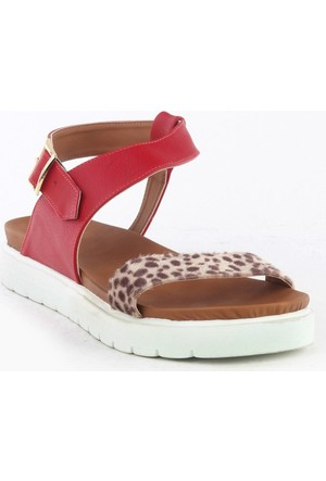 Markazen Leopar Desenli Sandalet - Kırmızı
