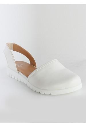 Markazen Bayan Sandalet Ayakkabı - Beyaz