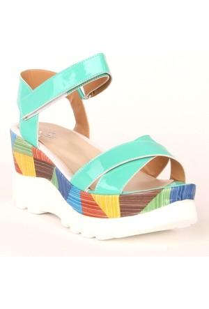 Markazen Bantlı Sandalet - Su Yeşili