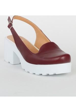Markazen Tokalı Sandalet Ayakkabı - Bordo
