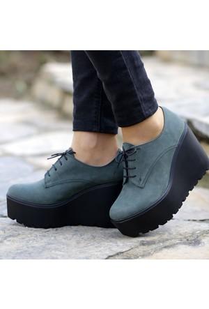 İnce Topuk Yeşil Süet Dolgu Topuk Ayakkabı