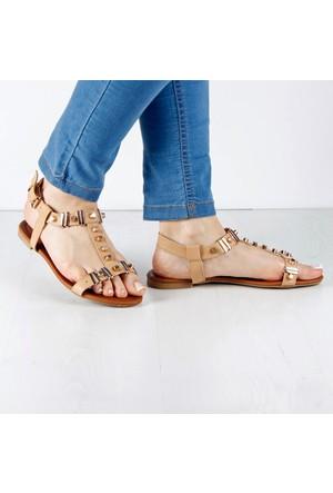 İnce Topuk Bej Sandalet