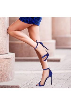 İnce Topuk Saks Mavisi Süet İnce Bantlı Topuklu Ayakkabı