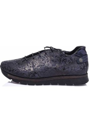 Camore Metalik Lacivert Süet Çiçek Baskılı Sneaker Ayakkabı