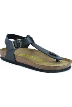 Real Natura 129-Parion Siyah Kadın Sandalet
