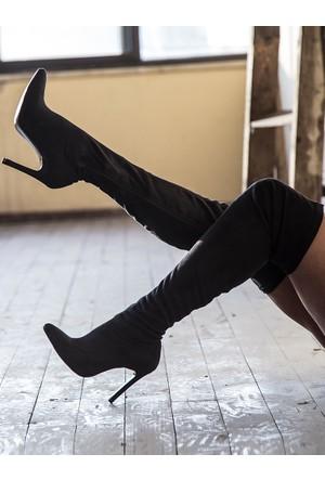 Mecrea Exclusive Britney Strech Siyah Süet Uzun Çizme