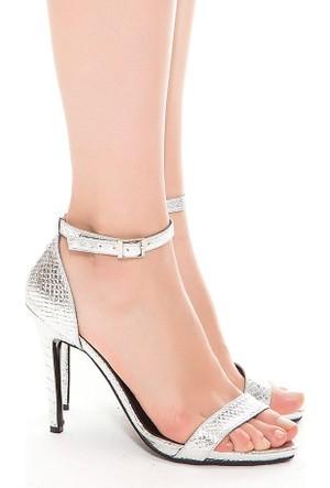Mecrea Exclusive Katty Gümüş Kroko Topuklu Sandalet