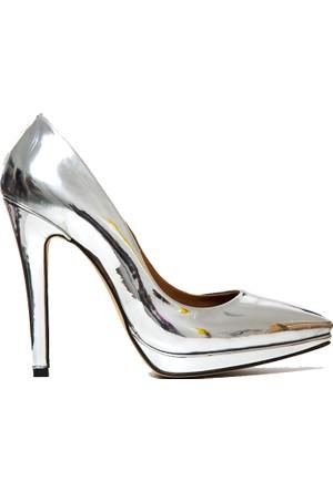 Mecrea Exclusive Luxury Gümüş Parlak Platform Stiletto
