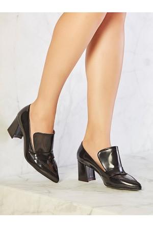 Mecrea Exclusive Manager Siyah Mat Rugan Topuklu Ayakkabı