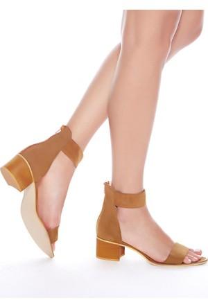 Mecrea Exclusive Moreno Taba Süet Bantlı Topuklu Sandalet