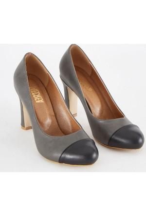 Mecrea Exclusive Two Tone Gri Siyah Kombin Topuklu Ayakkabı