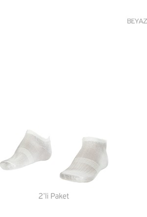 Lescon La-2182 Beyaz Erkek Patik Çorap 40-45 2'Li