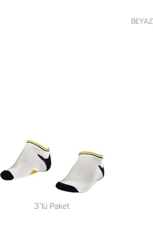 Lescon La-2187 Beyaz Erkek Patik Çorap 31-35 3'Lü
