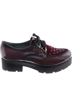Modabuymus Bovika Bordo Rugan Taşlı Ayakkabı