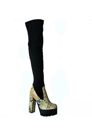 Meshure 4060 Topuklu Kadın Çizme Siyah