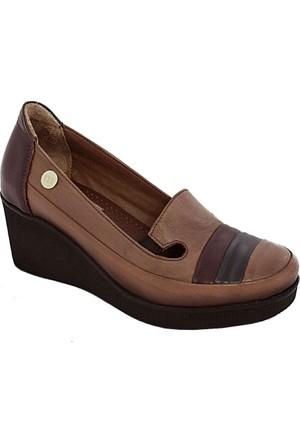 Mammamia D17Ya-235 Kadın Dolgu Topuk Ayakkabı Taba