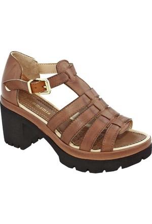 Mammamia D17Ys-1810 Deri Kadın Sandalet Taba
