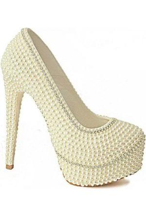 Meshure 2194 İncili Kadın Ayakkabı Sedef