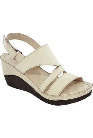 Gessı 1072 Deri Kadın Sandalet Bej