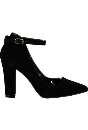 Pembe Potin Siyah Nubuk Ayakkabı