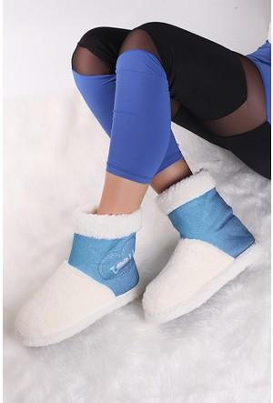 Pembe Potin Mavi Ev Ayakkabısı