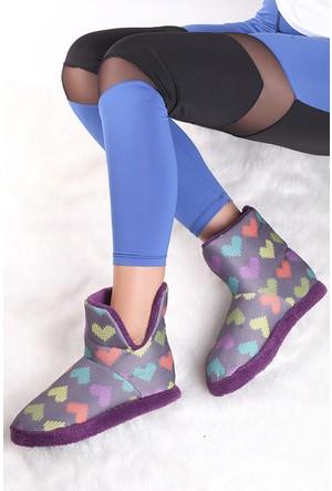 Pembe Potin Mor Ev Ayakkabısı