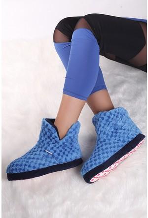 Pembe Potin Saks Mavi Ev Ayakkabısı