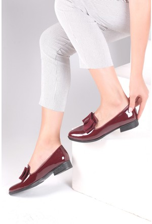 Pembe Potin Bordo Rugan Ayakkabı