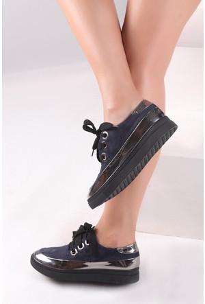 Pembe Potin Lacivert Ayakkabı