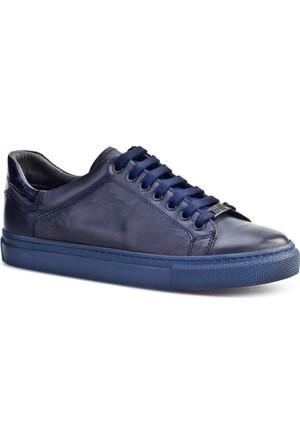 Cabani Bağcıklı Sneaker Kadın Ayakkabı Lacivert Croco Deri