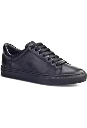 Cabani Bağcıklı Sneaker Kadın Ayakkabı Siyah Croco Deri