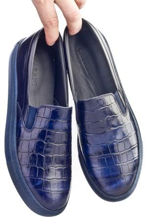 Cabani Bağcıksız Sneaker Kadın Ayakkabı Lacivert Croco Deri