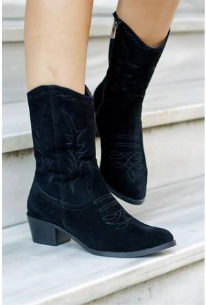 İnce Topuk Kovboy Çizme Siyah