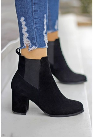 İnce Topuk Kalın Topuklu Bot Siyah