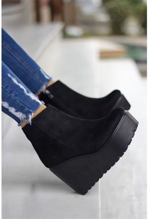 İnce Topuk Dolgu Topuk Bot Siyah