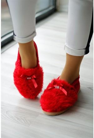 İnce Topuk Peluş Ev Babeti Kırmızı