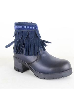 Conpax 1023 Bayan Püsküllü Topuklu Bot Lacivert