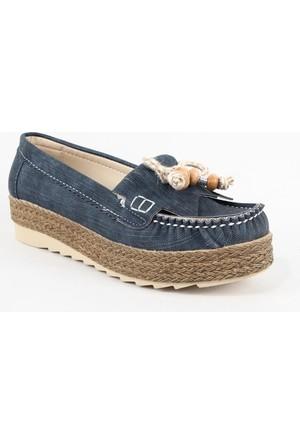Leydi 65 Hasır Taban Bayan Günlük Ayakkabı Lacivert