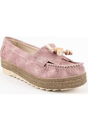 Leydi 65 Hasır Taban Bayan Günlük Ayakkabı Pudra